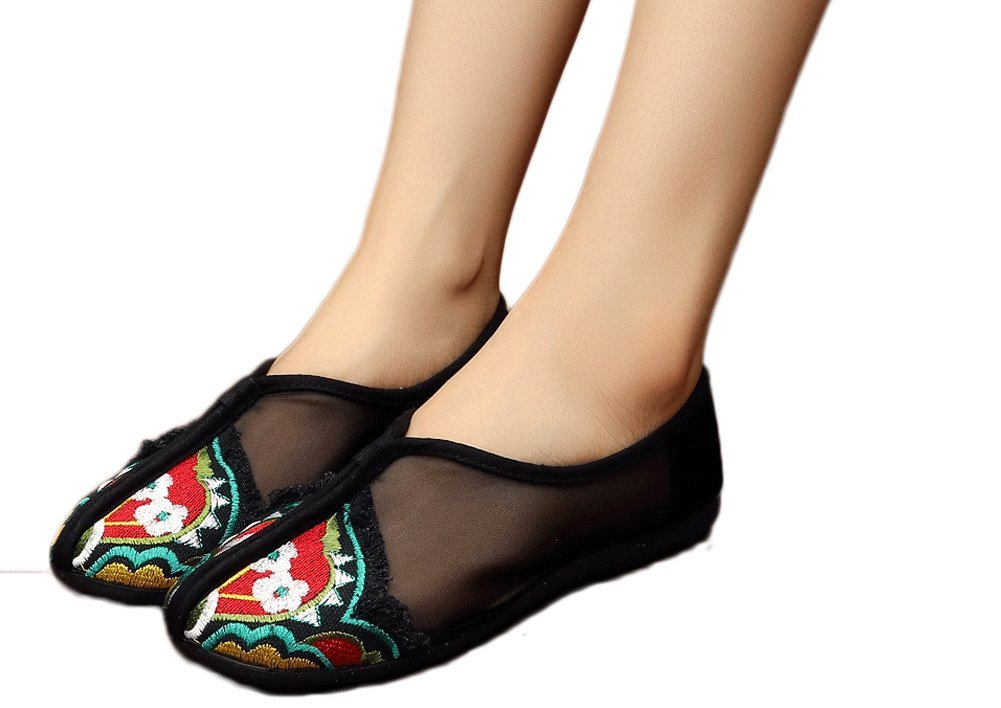 AvaCostume Womens Embroidery Flats Comfort Dancing Dress Shoes, Black 34