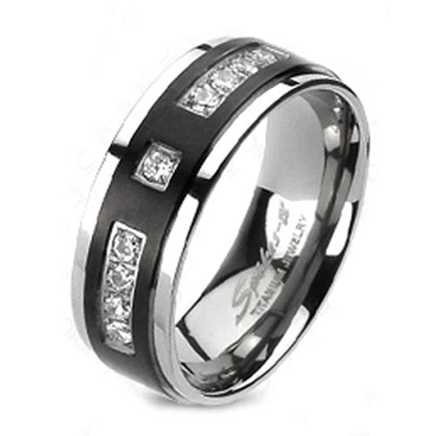 Amazon 8mm Men s Titanium Ring Wedding Band Silver Black