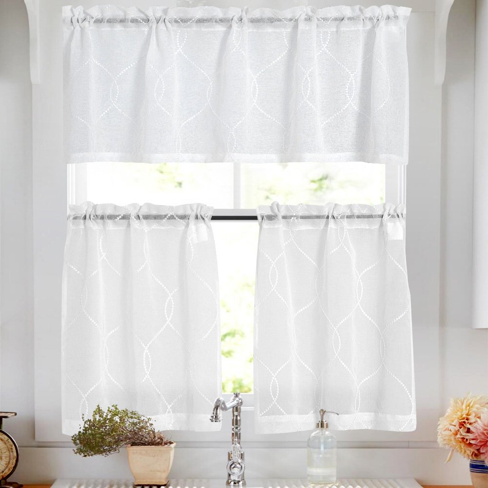 Sheer Kitchen Curtain Set with Valance Embroidered Sheer Kitchen Curtains 36 inch Moroccan Trellis Pattern Embroidery Semi Sheer White Kitchen Tier Curtains&Valance Set 3 Pcs for Bathroom