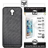 Yu Yureka Black Tempered Glass + Back Cover - TheGiftKart HD Tempered Glass + Carbon Fibre Finish Soft Back Cover (Black)