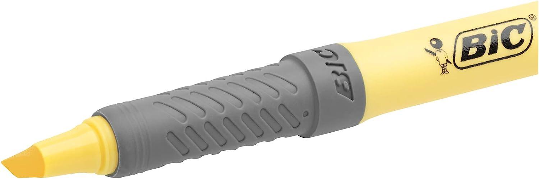 BIC Highlighter Grip Pastel Lot de 6 marqueurs /à pointe biseaut/ée r/églables Couleurs assorties