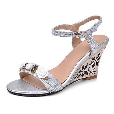 1TO9 - Sandalias de vestir para mujer, color Plateado, talla 35.5