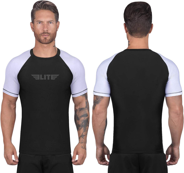 Elite Sports BJJ Jiu Jitsu Rash Guards, Men's BJJ, No GI, MMA Ranked Short Sleeve Compression Base Layer Rash Guard : Clothing