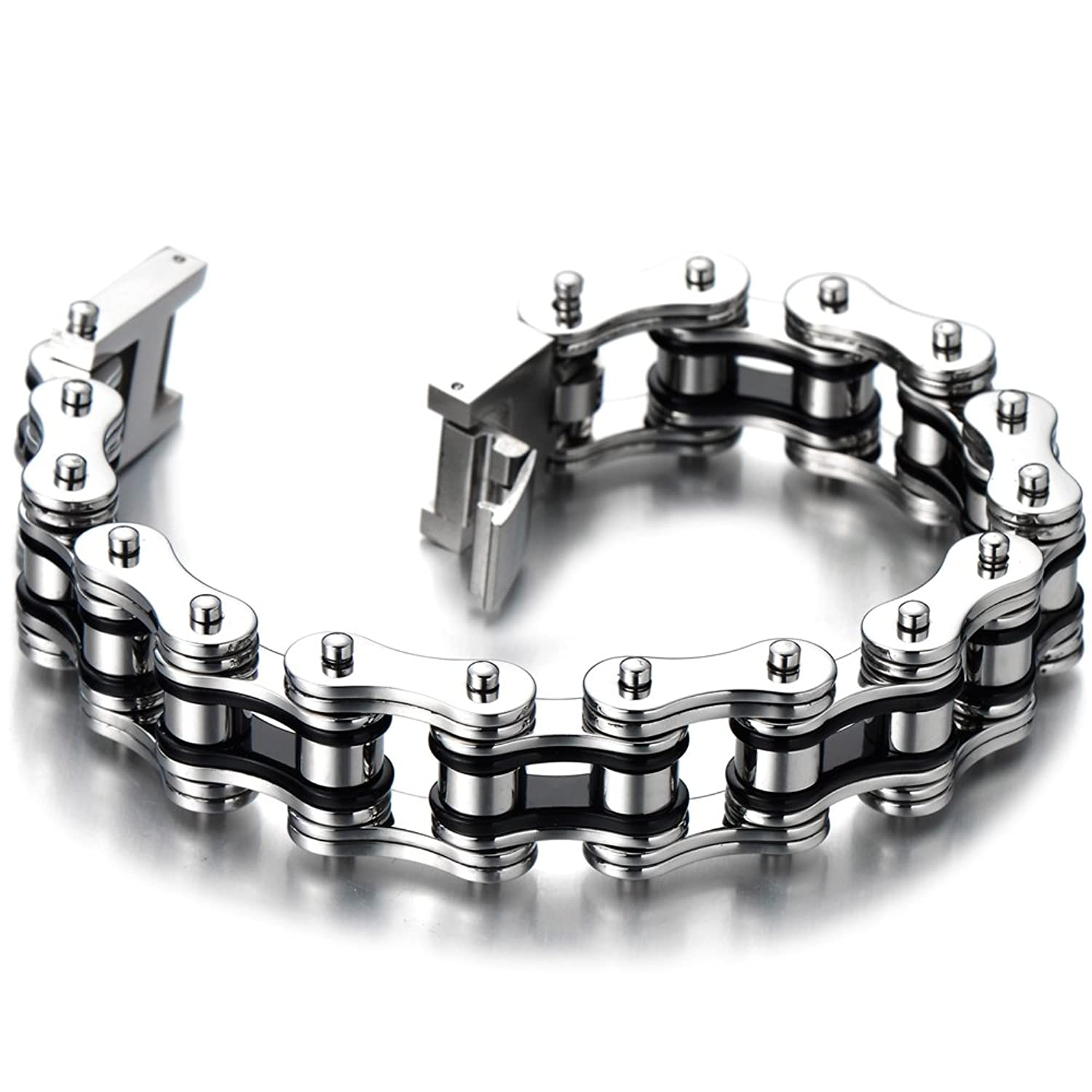 link chain mens stainless steel id ssbq bling hbj jewelry az black curb bracelet cuban