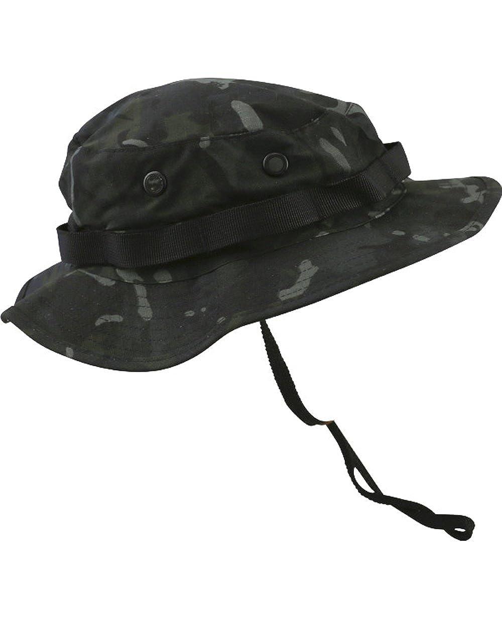 Kombat Tactical Army Combat US Military Army BTP Black Camo Wide Brimmed Jungle Bush Hat Boonie Hat Sun Hat