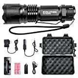 EVOLUTION OUTDOORS Led Military Tactical Flashlight 800 Lumens 18650 Rechargeable Battery aaa Adults Children, Lightweight Handheld Flashlights 5 Modes Clip Outdoor Travel
