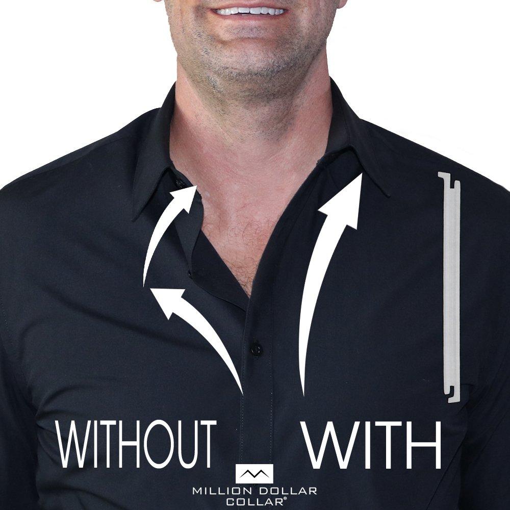 Sewn In Dress Shirt Placket Stays Look Like a Million Bucks Million Dollar Collar