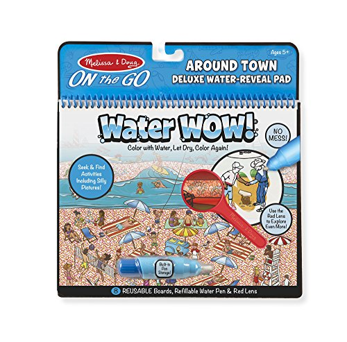 Melissa & Doug On the Go Water Wow! Around Town Deluxe Reusable Water-Reveal Activity Pad, Chunky-Size Water Pen -
