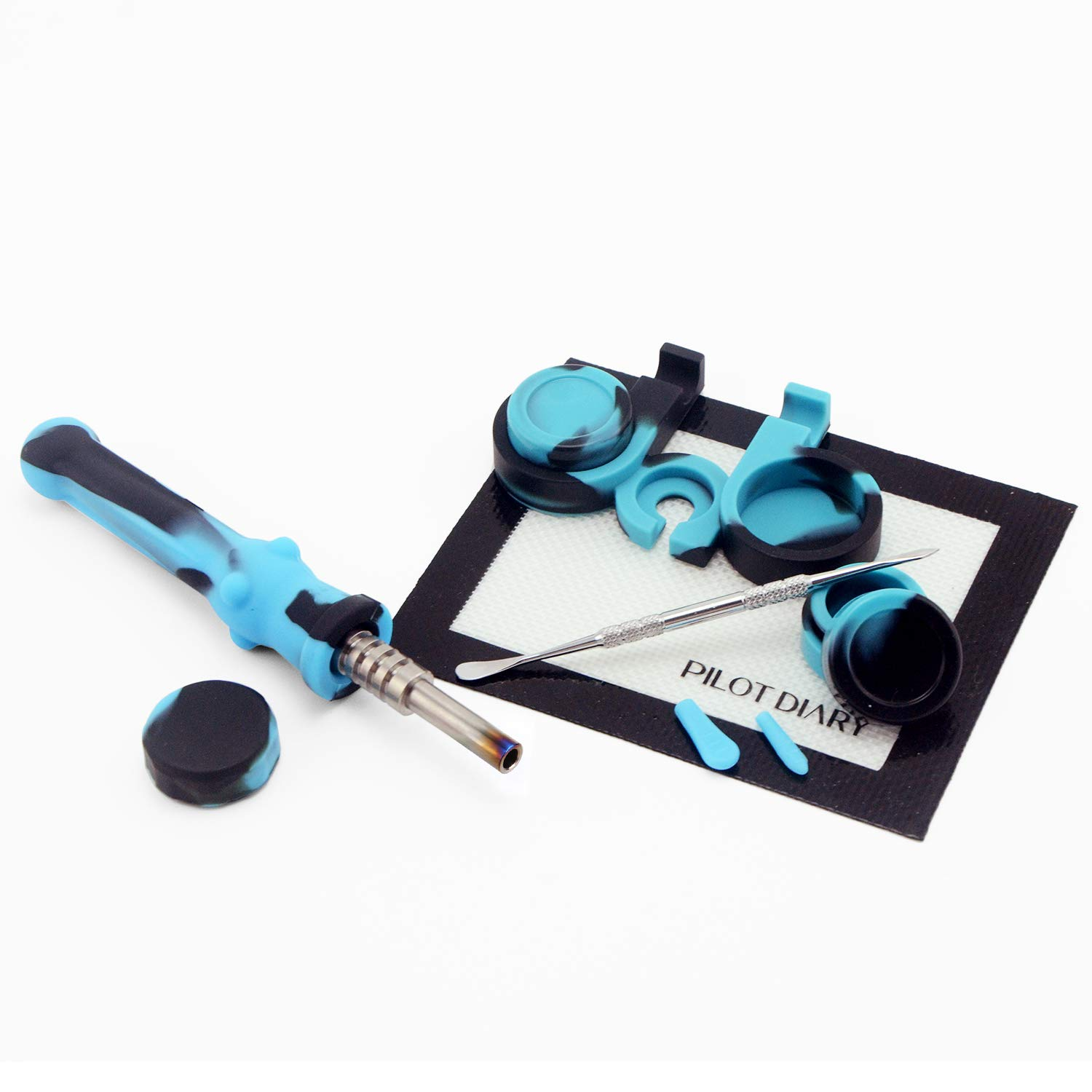 Pilot Diary Silicone Honey Straw 6.5'' Dark&Blue w/Silicone Wax Carving Kit by Pilot Diary