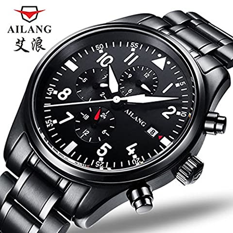 Black fabric watch band watch box 2017 high-end automatic mechanical watches Swiss AI wave military pilots (steel (Swiss Mechanical Automatic)