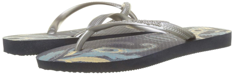 Havaianas Damen Damen Damen Schmale Öko Flip Flop-Sandalen, Blaumenmuster, merhfarbig  79cf4d