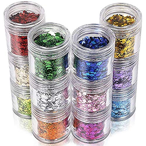 (Teenitor 12 Boxes Chunky Glitter, Colorful Mixed Paillette Eye Shadow Body Nail Face Lips Hair Iridescent Flakes Sparkles, Cosmetic Party Festival Slime Supplies Powder Sequins)