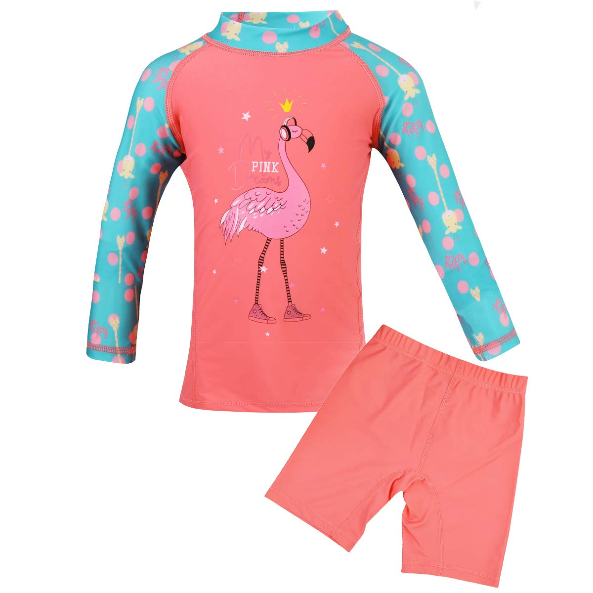 Girls Two-Piece Swimsuit Set UPF 50+ Sun Protection (S-XL) ropsort