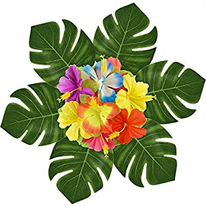 WeiMo Decorative Artificial Leaves and Flowers, 66 pcs Pack Green Artificial Monstera Palm Leaves and Colorful Silk Cloth Flowers for Party Decoration and Home Decoration 37