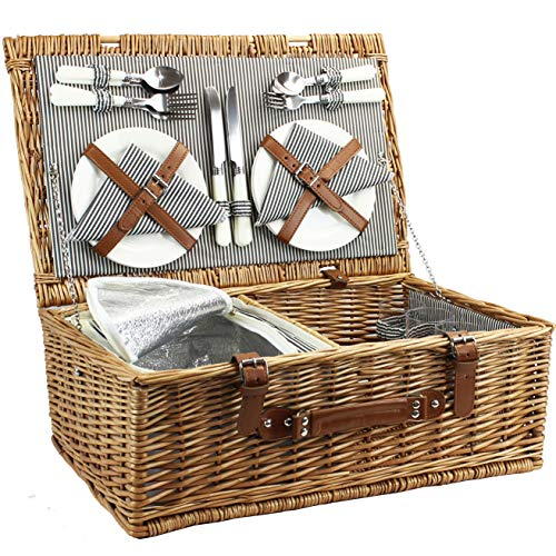 4 Person Picnic Basket, Large Willow Hamper Set with Insulated Compartment, Handmade Large Wicker Picnic Basket Set with Utensils Cutlery - Perfect for Picnicking, Camping, or any Other Outdoor Event (Picnic For Basket Two Sets)