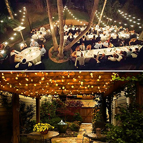 Amico 2 Pack 52FT Outdoor String Lights: Commercial Grade Weatherproof Yard Lights, 11W Dimmable Incandescent Bulbs, UL Listed Heavy-Duty Decorative Patio Bistro Market Café Lights by Amico (Image #7)