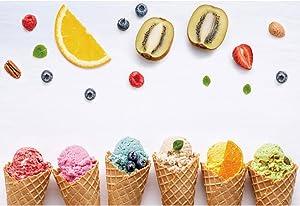 DORCEV 10x8ft Colorful Ice Cream Backdrop White Wall Strawberry Orange Apple Fruit Summer Ice Cream Theme Newborn Baby Shower Birthday Party Banner Dessert Table Decoration
