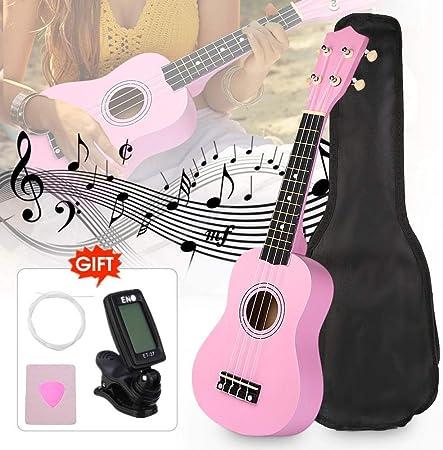 Florwesr 21 Rosa Tilo Soprano Ukulele Uke Kits De Hawaii Bajo Eléctrico Guitarra Instrumentos Musicales Set + Sintonizador + Cuerdas + Correa + Estuche (Size : 21 Inches): Amazon.es: Hogar