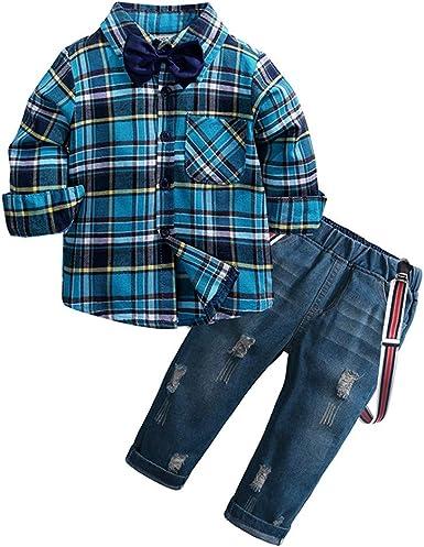 Mitlfuny Conjunto de 2 Piezas Cuadros Blusas + Jeans Ropa de Bebé Camisetas de Manga Larga Niñas Niños Solapa Botón Camisas Tops Tirantes Vaquero ...