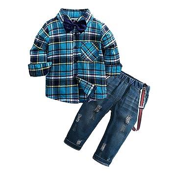 7a579bfc4 Amazon.com  Jshuang Kids 2pcs Outfits Boys Girls Long Sleeve Plaid ...