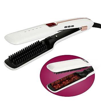 Straight Hair Comb Steam Peine Que Endereza Los Hierros Automático Cepillo De Pelo Recto Plancha De Vapor De Hierro Eléctrico Plancha De Pelo Herramientas: ...