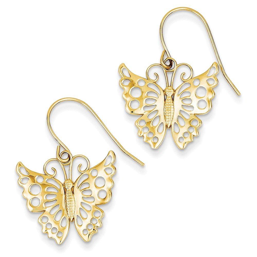 14k Dangle Butterfly Shepherd Hook Earrings