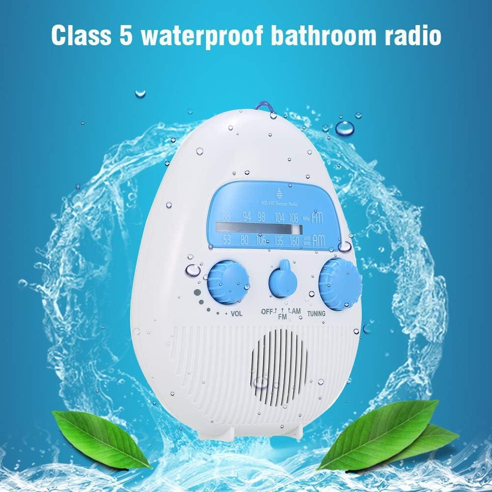 Xuey Waterproof Shower Radio AM//FM Mini Shower Radio Bathroom Digital Clock Shower Radios USB and TF Card Port Hanging Bluetooth Speaker Shower Radio Clock