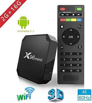 X96mini TV Box, Android 7.1.2, RAM 2GB+ROM 16G, CPU: Amlogic S905W, GPU: Quad Core Arm Cortex A53, 2GHz, Conexión WiFi, Compatible con 4K, H .265, OTG, BT, Color Negro: Amazon.es: Electrónica