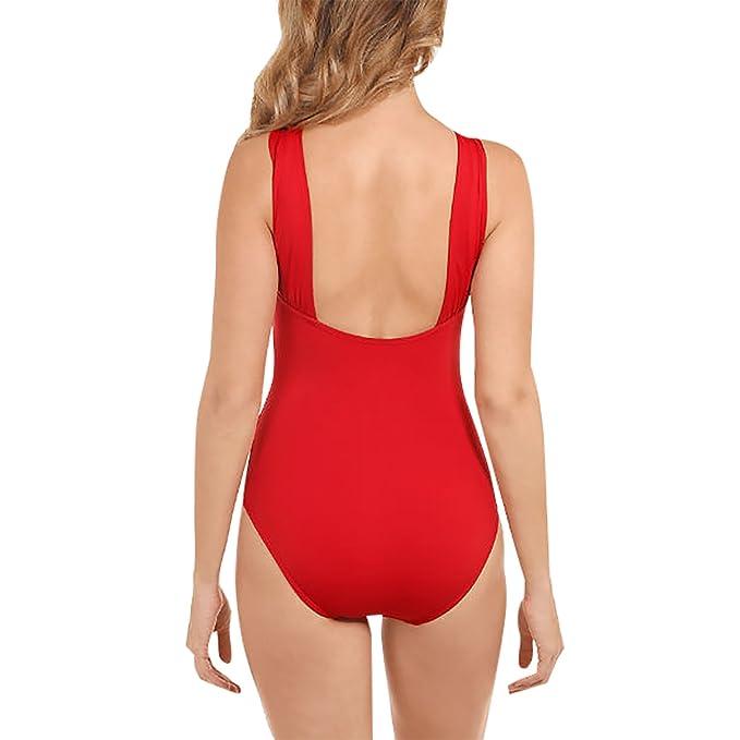 Damen Reizvoll Badeanzug Cocktail Rückenfrei Bademode Sonnenschutz Sommer  Cover Up Bikinis Strand Jumpsuits (EU40-XL, Rot)  Amazon.de  Bekleidung 10ba0705e7