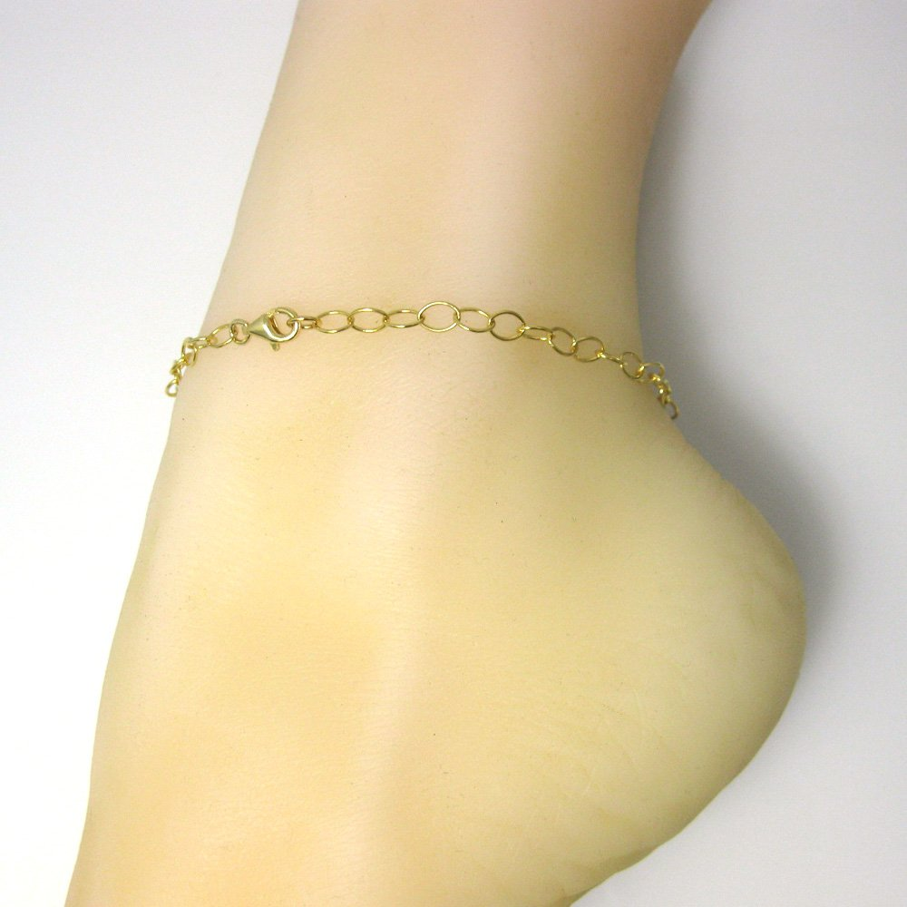 Anklet -5 x 4 Thick Round Oval Cable Chain Gold Over Sterling Silver Chain Necklace All Sizes Bracelet