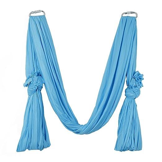 Pellor 5 m Deluxe Air Moscas Yoga Antideslizante Hammock Aerial Yoga Hammock Fitness bambolearse Hamaca Colgante Toalla con 440 Lb carga, azul