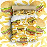 EZON-CH 100% Brushed Cotton Print Soft Delicious Hamburger And French Fries Design 4 Piece Duvet Cover Set Duvet Cover Flat sheet Pillow Cases Bed Sheet Set(Queen)