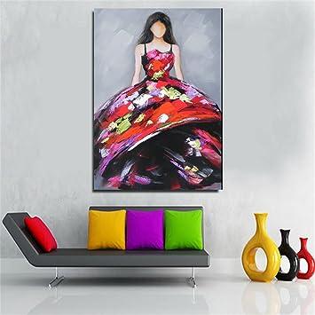 GroBartig Moderne Kunst Malerei Handgemalte Ölgemälde Frau Roten Rock Rahmenlose  Leinwand Schlafzimmer Wohnzimmer Wand Kunst Hintergrund Dekoration