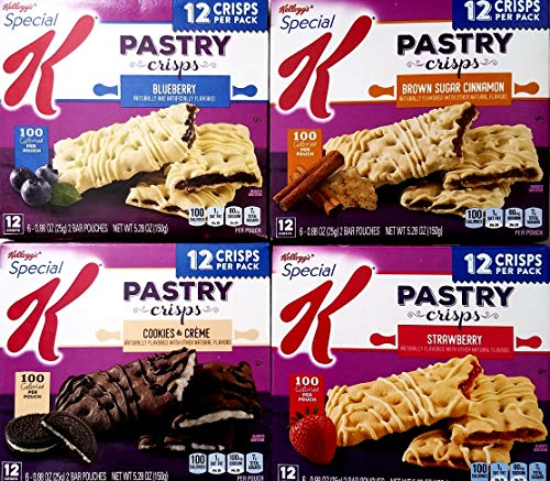 (Blueberry, Brown Sugar Cinnamon, Cookies and Creme, Strawberry - Variety Pack Bundle of 4 Special K Pastry)