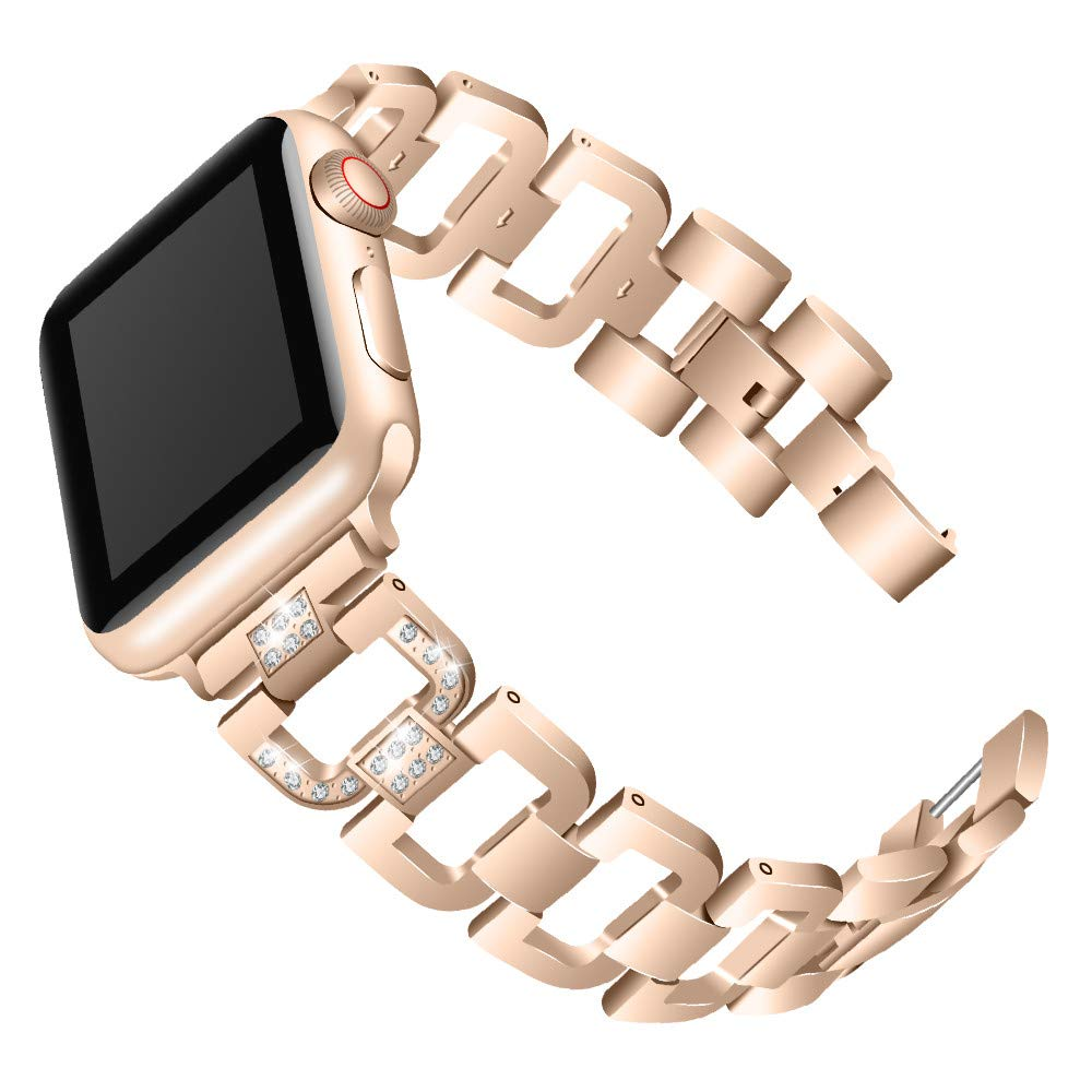 Watchband for iWatch Series 4,elacfan Removable Links Replacement Watch Band Shining D Shape Rhinestone Stainless Bracelet Band with Watch Lugs 44mm Watch Strap for iWatch Series 4,Dark Gold by elecfan