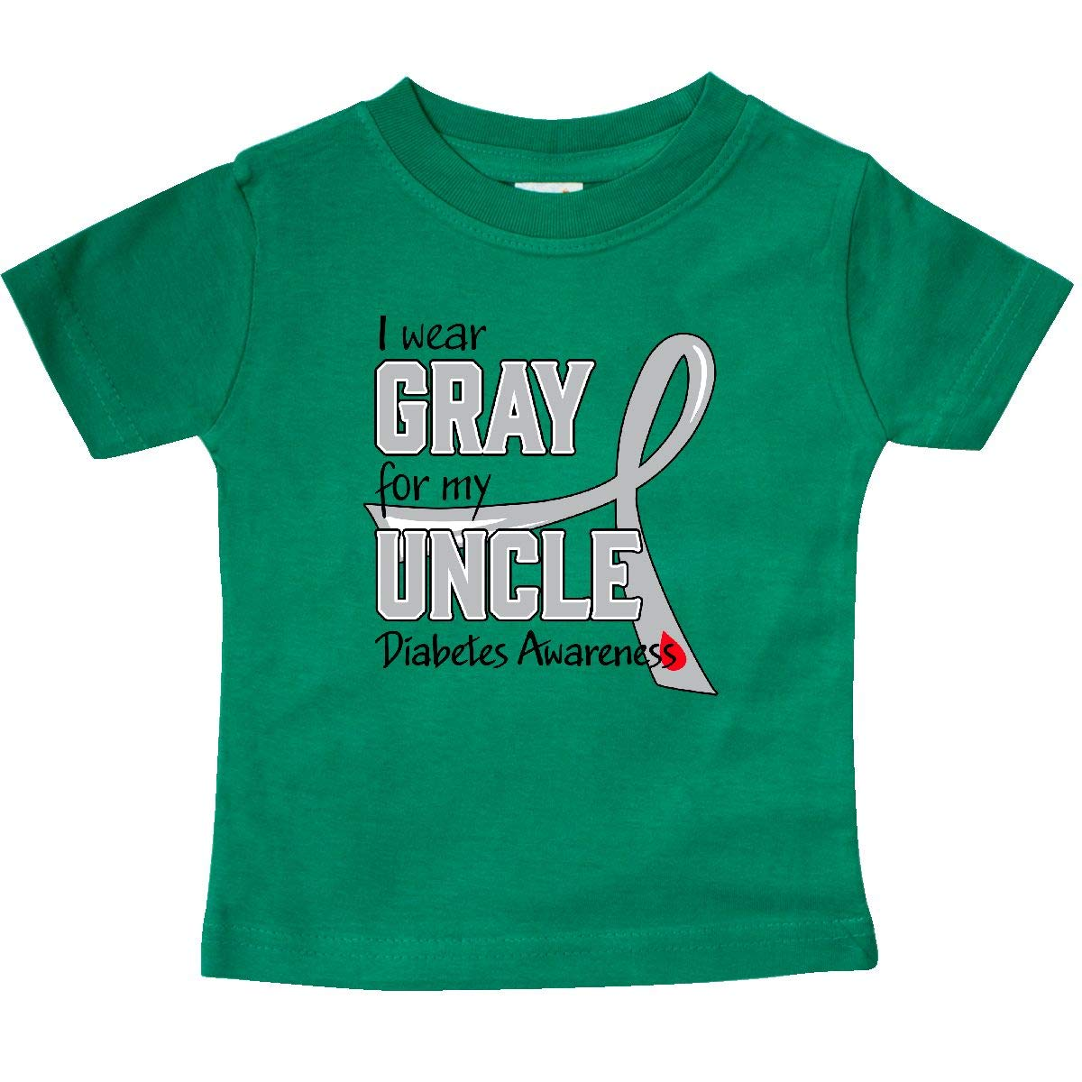 inktastic I Wear Gray for My Uncle Diabetes Awareness Baby T-Shirt