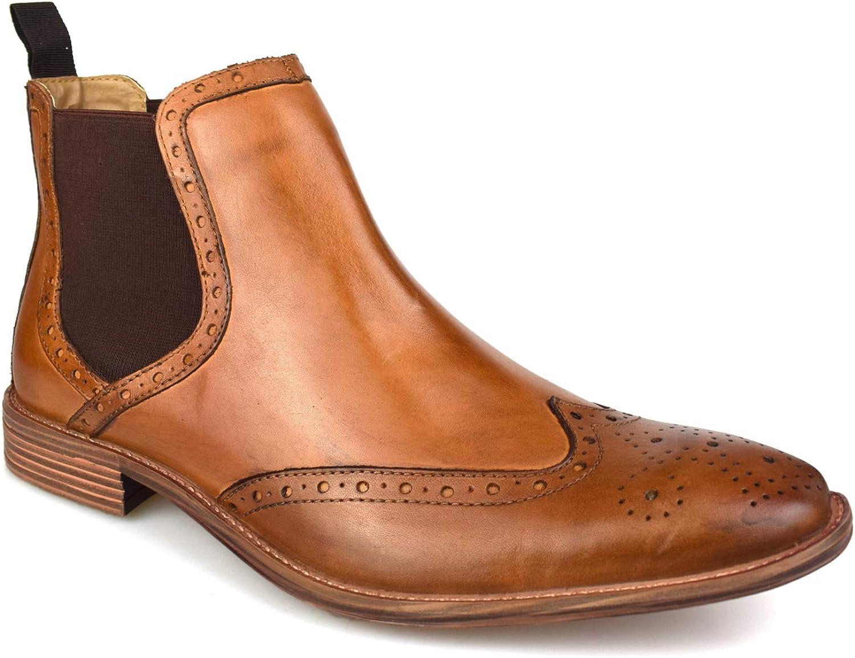 Premium Mens Tan Leather Brogue Chelsea
