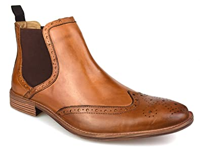 53855413a1e51 Premium Mens Tan Leather Brogue Chelsea Boots: Amazon.co.uk: Shoes ...