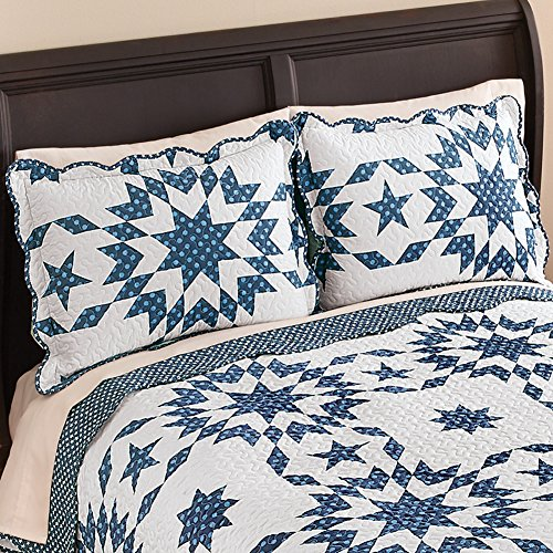 (Collections Etc Samantha Patch Starburst Quilted Pillow Sham, Navy, Sham)