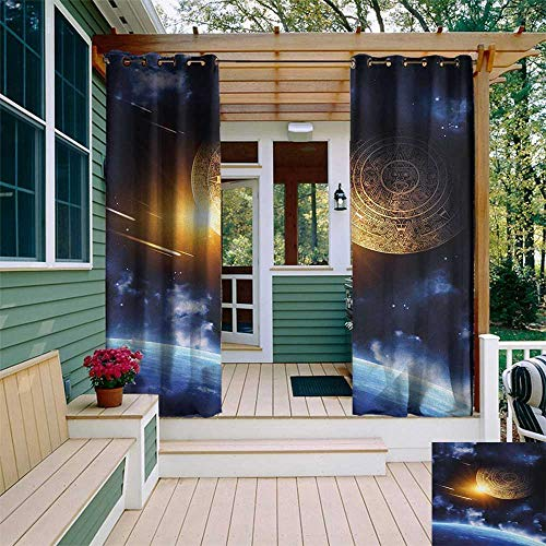 leinuoyi Galaxy, Outdoor Curtain Set, Maya Calendar with Outer Space Background with Earth Mystical Astral Meteor View, for Privacy W108 x L108 Inch Blue Yellow (Astral Willow)