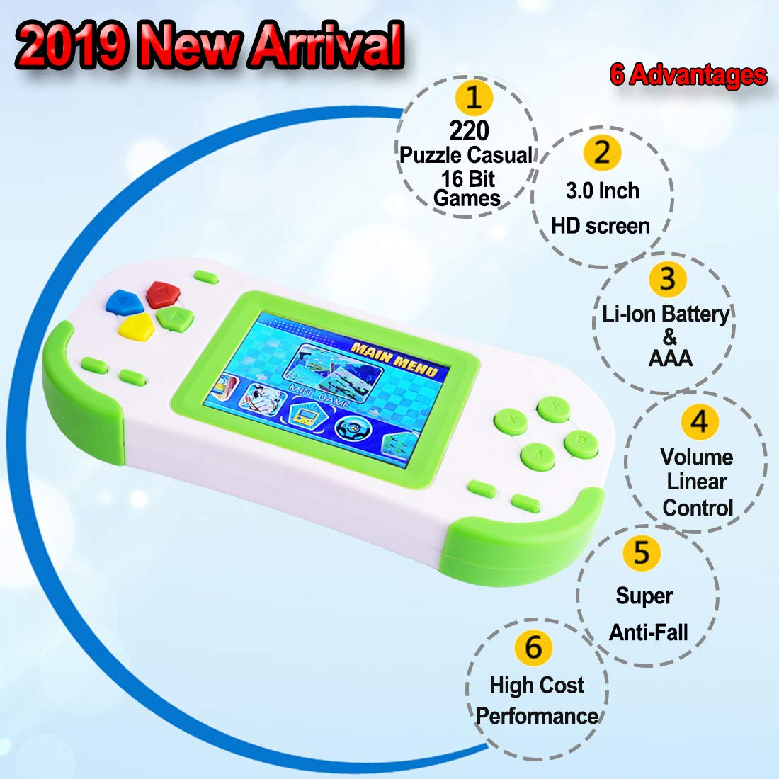 TEBIYOU Handheld Game Console for Kids Portable Video Game Player with Built in 16 Bit 220 HD Classic Games 3.0'' Large Screen Electronic Handheld Games for Seniors Adults Children Birthday (Green) by TEBIYOU (Image #2)