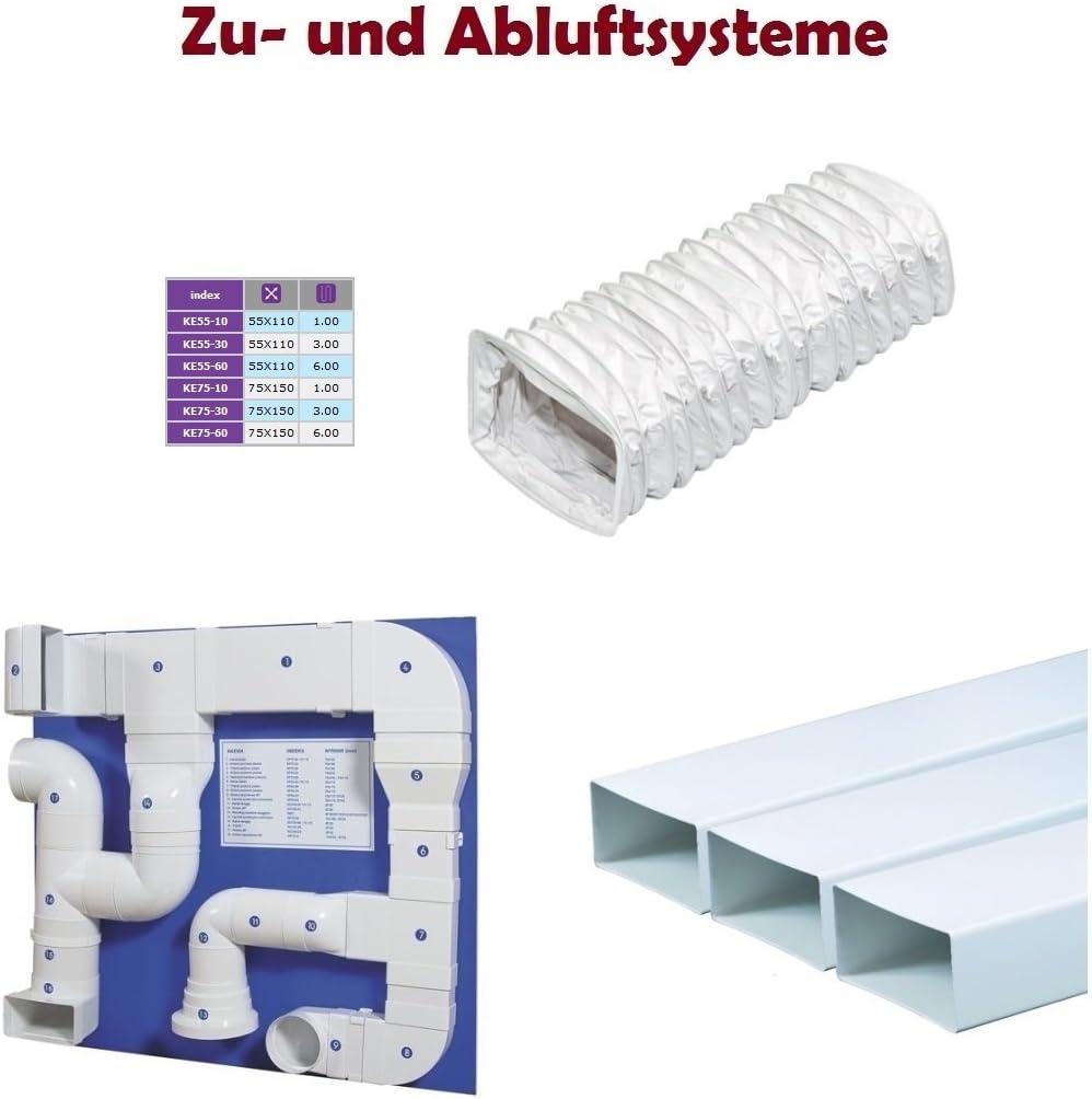 PVC Plat Canal 55/x 110/mm Tuyau flexible Flex Tuyau plat Tube 1/m m/ètres de longueur Flex Tuyau flexible Retrait