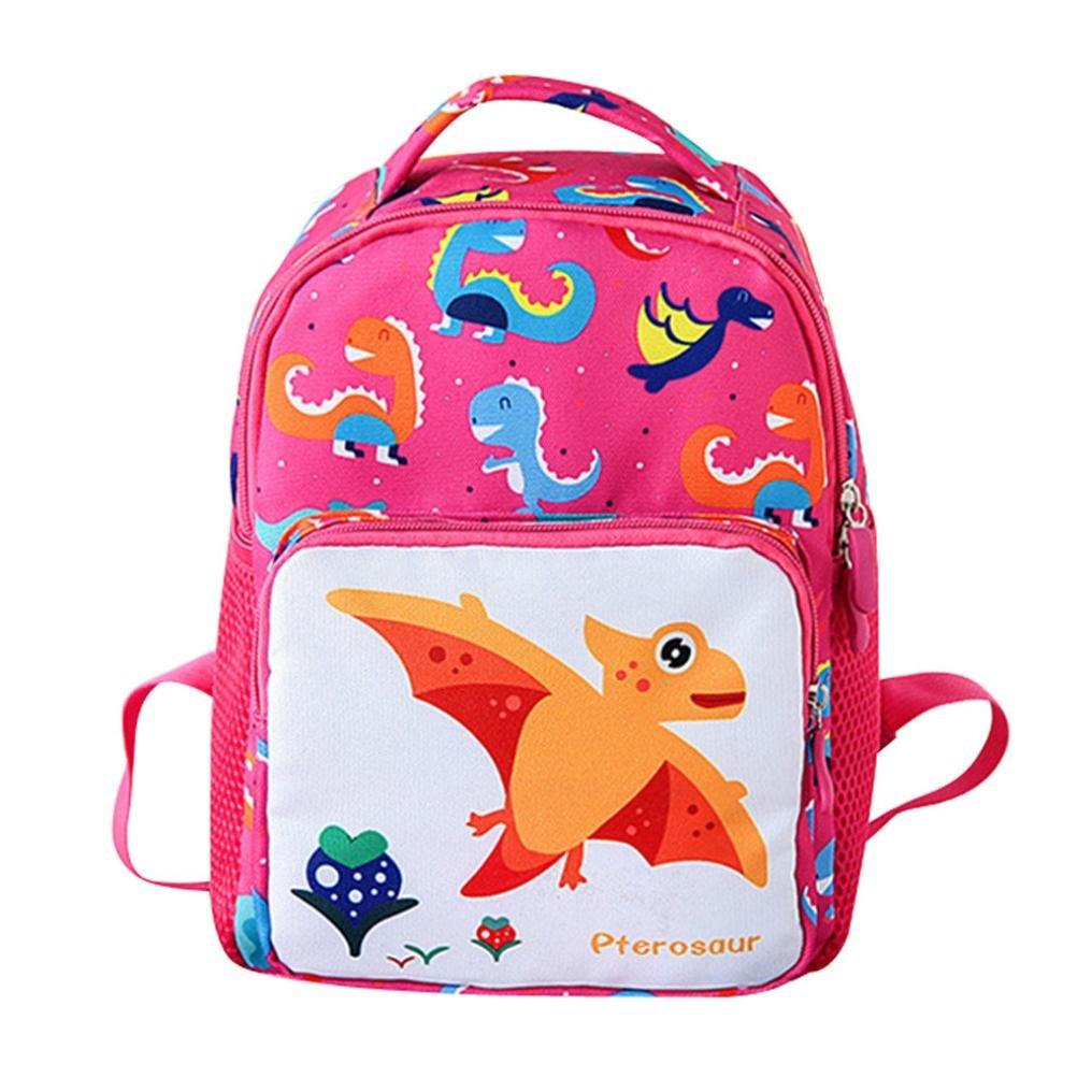 leedfordかわいい幼児漫画バックパック、ベビーガールズボーイズKids Cartoon Dinosaur AnimalバックパックスクールBag for Toddlers子供旅行軽量ブックバッグ B07FCZ5N39 ピンク Small