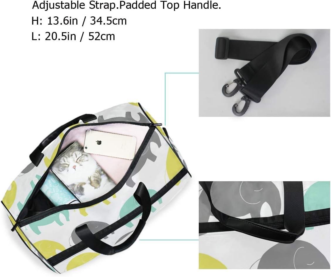 Lightweight Water Resistant Tear Resistant FANTAZIO Cartoon Elephones Sports Bag Packable Travel Duffle Bag