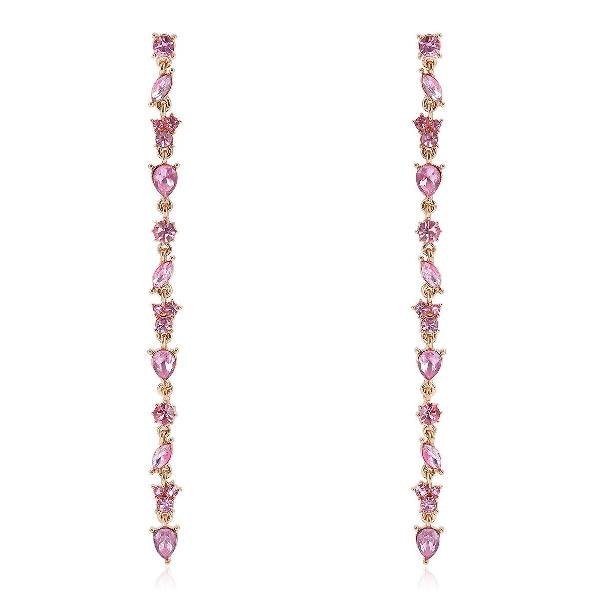 SODIAL Boucles d'oreilles branchees de pendentif de fleurs en strass Boucles d'oreilles longues de chaine de strass de mode pour bijoux des femmes 155134