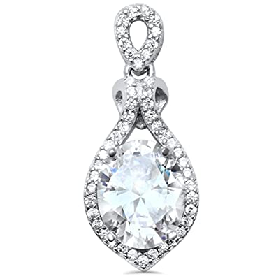 "Blue Fire Opal /& Cubic Zirconia New .925 Sterling Silver Pendant 1/"" long"