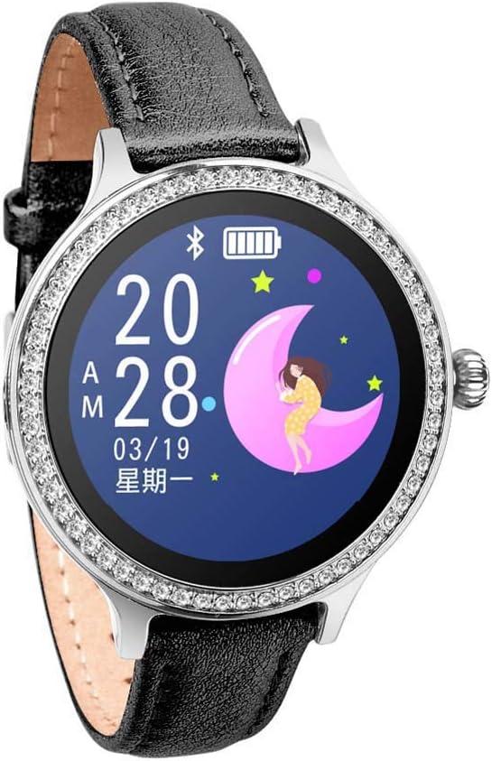 WHOME Bracelet à Puce Montre à Bracelet de fréquence Cardiaque tensiomètre de fréquence Cardiaque Rappel du Mouvement de la santé-blackleather Blackleather