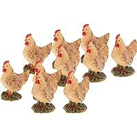 Blesiya 10 Piece Mini Hen Figurines Chicken Micro Landscape DIY Dollhouse Ornaments Resin Chicken Statue