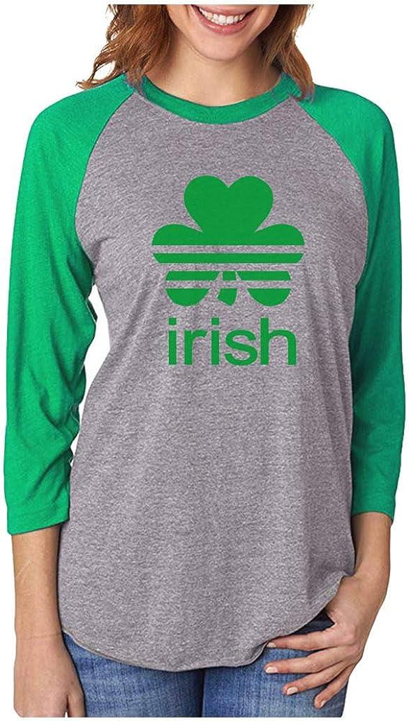 St Patricks Day Shamrock Clover Irish 3//4 Women Sleeve Baseball Jersey Shirt