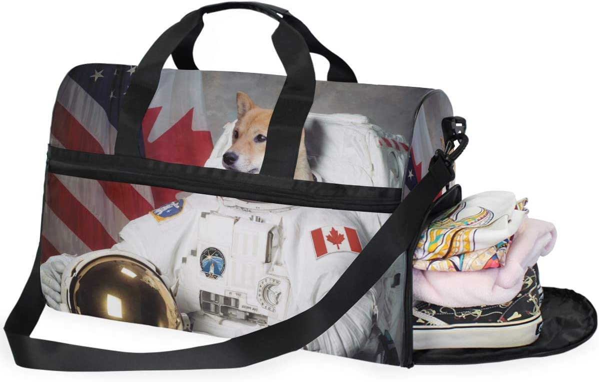 MUOOUM Cute Dog In Space Astronaut Large Duffle Bags Sports Gym Bag with Shoes Compartment for Men and Women
